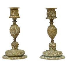 A Pair of Bronze Candlesticks, 17th century