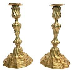 Pair of Gilded Bronze Candlesticks