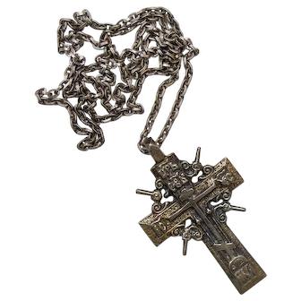 Russian Orthodox Silver Gilded Old Cross