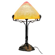 Elegant and unusual French Art Deco style table lamp with Pâte de verre art glass shade