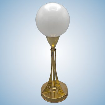 Avantgardistic Dutch brass Jugendstil lamp (ca1910) signed C. Kurz with milkglass sphere shade