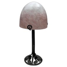 LOUIS FONTAINE - Superb French wrought iron Art Deco lamp with art glass (pâte de verre) glass shade signed L'ELF for Louis Fontaine  (ca 1930)