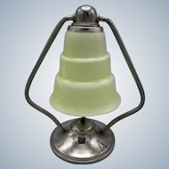 Rare chrome Art Deco 'moderniste' table/bedroom lamp with on off switch and stepped art glass shade (ca 1930)