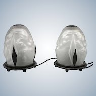 Pair French Art Deco signed Muller Freres rare boudoir/night lamps from wrought iron and pressed glass (ca 1925)