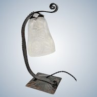 French Art Deco lamp by Morin & Bost Lyon with signed mould press glass shade by PrimaFlore (ca 1930)