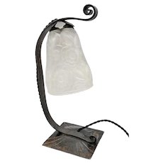 MORIN & BOST LYON - French Art Deco lamp by Morin & Bost Lyon with signed mould press glass shade by PrimaFlore (ca 1930)