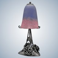 Splendid French wrought iron lamp decorated with roses and leafs with art glass shade signed Schneider (ca 1925)