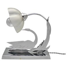Delightful rare French chromed Art Deco figural swan night lamp by XW Paris (ca 1930)