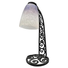Unusual French wrought iron Art Deco Table lamp with Pate de Verre tulip glass shade (ca 1925)