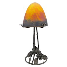 French wrought iron Art Deco lamp with Pate de verre art glass shade (ca 1925)