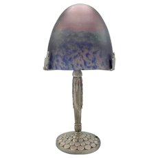 French Art Deco lamp with Pate de Verre art glass shade signed TIEF (ca1930)