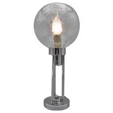 CLAUDE-PAZ et SILVA: Marvelous and rare chrome modernist Art Deco Lamp from the 1930's by Claude Lumiere with transparant crackle glass globe.