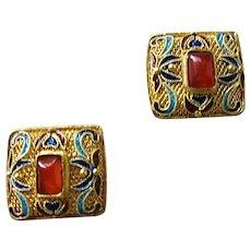 Vintage Chinese Export Gold Vermeil Enamel Carnelian Earrings