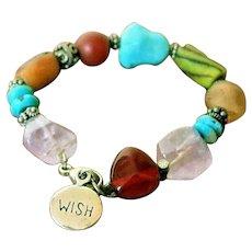Artisan Turquoise Amethyst Silver Charm Bracelet