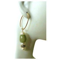 Vintage Chinese Jadeite Jade and Pearl Earrings
