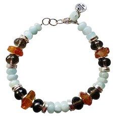 Artisan Aquamarine Citrine Smoky Quartz Bracelet