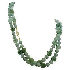 "Vintage Chinese Jadeite Jade Beads Necklace 34"""