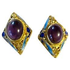 Vintage Chinese Export Sterling Vermeil Amethyst  Enamel Earrings