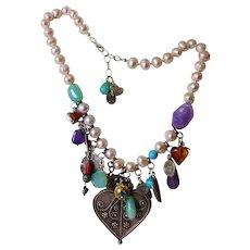 Abundant Gemstone Charm Necklace Sterling 14kt Gold