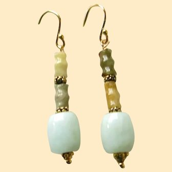 Vintage Chinese Jadeite Jade Earrings
