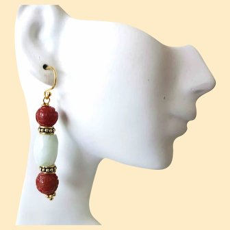 Vintage Chinese Jadeite Jade and Carnelian Shou Earrings