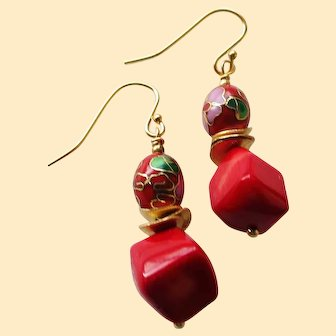Vintage Chinese Cloisonne and Coral Earrings