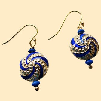 Vintage Chinese Gold and Blue Enamel Earrings