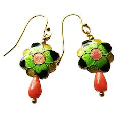 Vintage Chinese Cloisonne and Coral Gold Vermeil Earrings