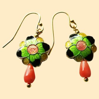 Vintage Chinese Enamel and Coral Earrings