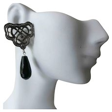 Vintage Silver and Onyx Earrings