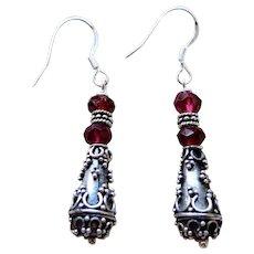 Artisan Garnet and Granulated Silver Earrings