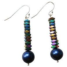 Artisan Blue Pearl and Mystic Hematite Earrings
