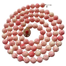 Chinese Shou Carved Shell Beads In Salmon Coral Color Necklace 33""