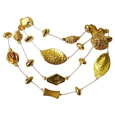 """24kt Gold Vermeil over Sterling Study in Shapes and textures 36""""  Layering Necklace"""