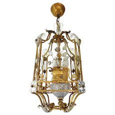 French Chandelier Lantern Maison Bagues Paris 1940s /50s