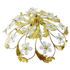 Mid Century Vintage Italian Flush Mount Ceiling Lamp With Crystal Flowers 1960s/70s