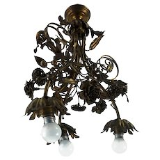 Rare Mid Century Vintage Florentine Chandelier From Italy 1960s/1970s
