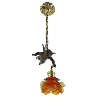 Beautiful French Art Nouveau Cherub Chandelier 1920s With Rose Lampshade