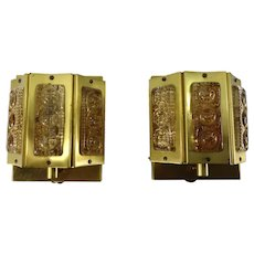 Mid Century Vintage Pair Of Sconces Wall Lamps From Denmark 1960s