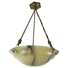 Late Art Nouveau Alabaster Chandelier Ceiling Light From France 1920s