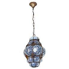 Vintage Venetian Murano Opalescent Glass Chandelier Lantern 1930s/40s