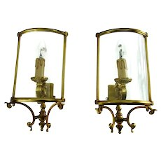 Great Pair Of Late Art Deco Sconces With Arched Glass Panels From France 1940s