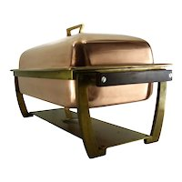Large Mid Century Vintage Copper Chafing Dish From France
