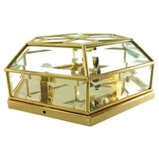 Rare Austrian Flush Mount Ceiling Lamp Gilded With Cut Glass 1980s