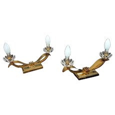 Pair Of Mid Century Table Lamps By Baccarat France 1950s