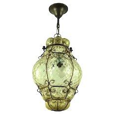Mid Century Vintage Murano Seguso Lantern Pendant From Italy 1950s/60s