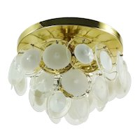 Three-tier Mid Century Murano Vistosi Flush Mount Ceiling Lamp 1970s