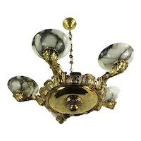 Art Nouveau Five Arm Alabaster & Brass Chandelier