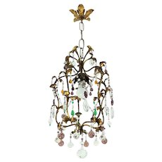 Gilded Chandelier With Murano Crystals Italy 1920s