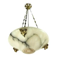 Art Nouveau Alabaster Chandelier Gilded Bronze Ram Heads Austria